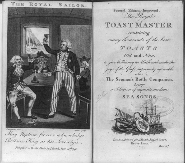 Четыре морских офицера поднимают бокалы: иллюстрация в «Королевском сборнике тостов», 1791 год. | Фото: atlasobscura.com.