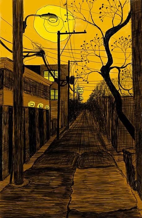 Освещаемый фонарями переулок.