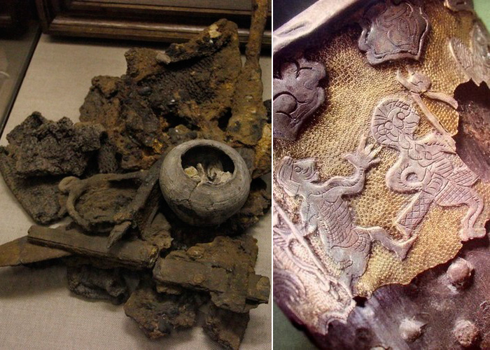 Спекшиеся предметы, горшок с бабками-костями и фрагмент фризы ритона.