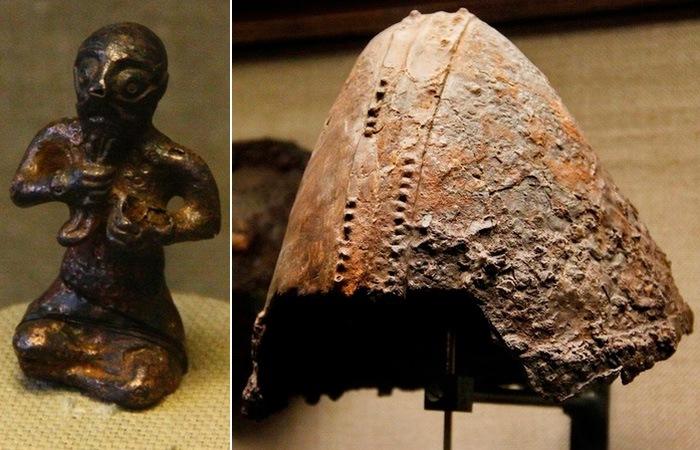 Фигурка бога Тора и шлем.
