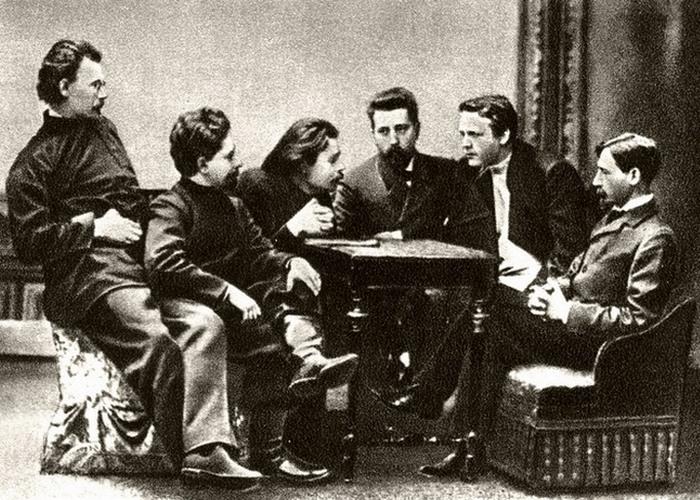 Скиталец, Андреев, Горький, Телешов, Шаляпин, Бунин. 1902 год./ Фото: monlib.ru