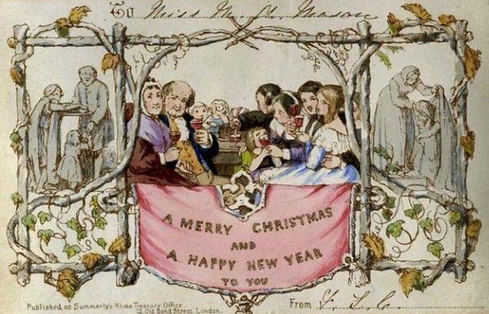 Первая рождественская открытка.