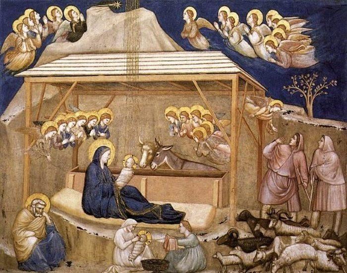 Рождественская открытка с двумя фигурами младенца Иисуса.