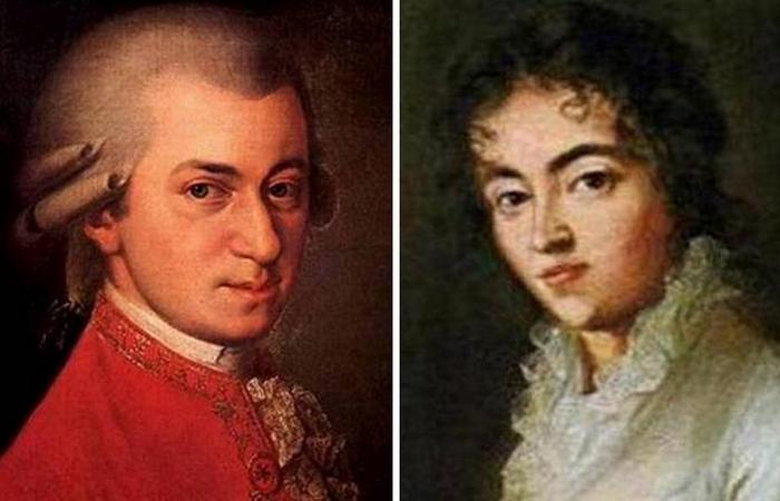 Вольфганг Амадей Моцарт и Констанция Вебер.