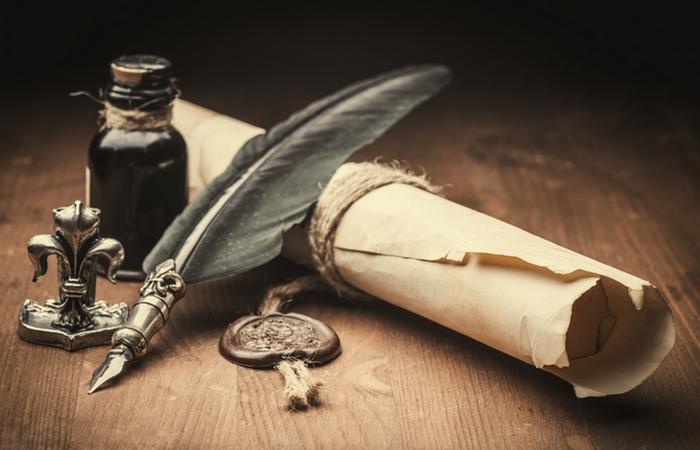 Чернильница, перо, бумага...