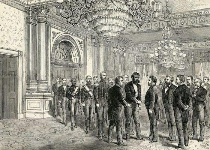 Иллюстрация государственного ужина Калакауа в Белом доме, встреча с президентом Улиссом С. Грантом.