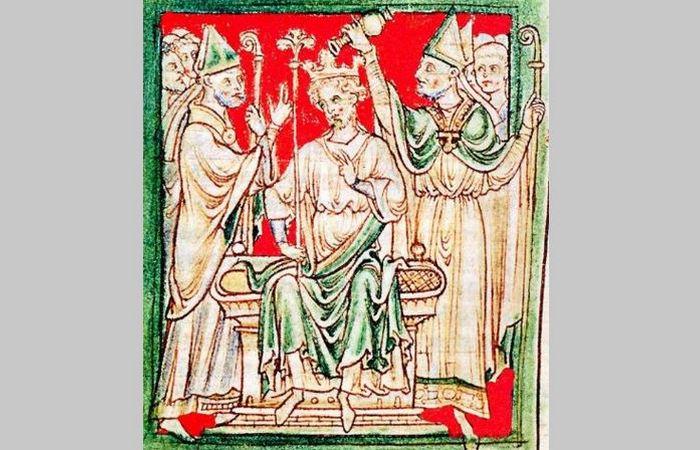 Коронация Ричарда I в Вестминстерском аббатстве, хроники XIII века.