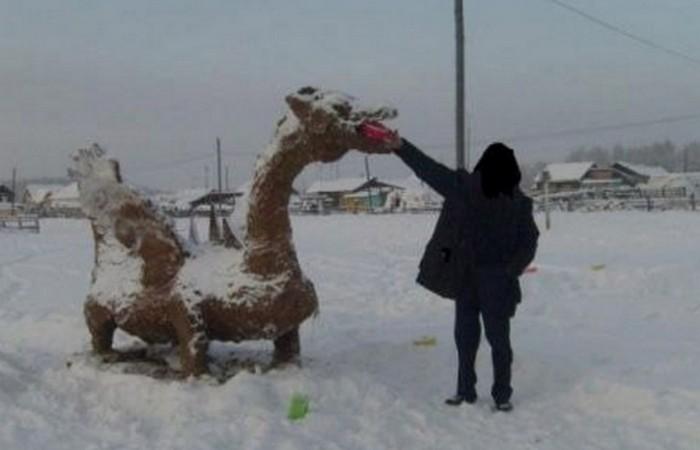 Скульптура из навоза: «Год Дракона»./ Фото: sakhapress.ru