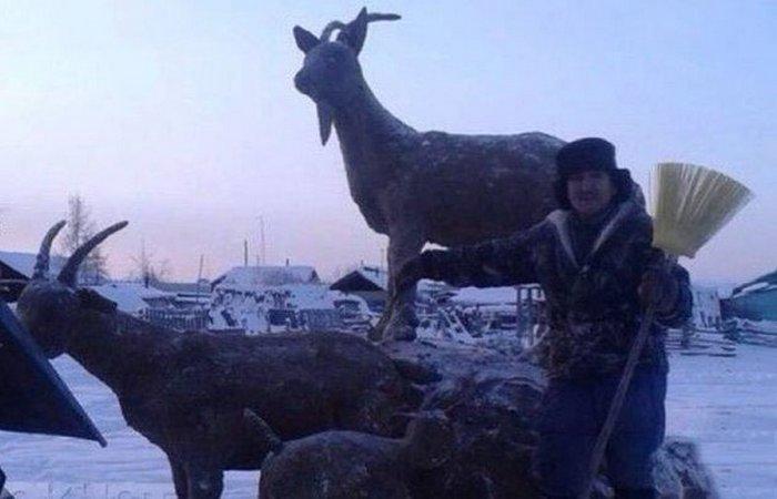 Скульптура из навоза: «Год Козы»./ Фото: stiley.ru