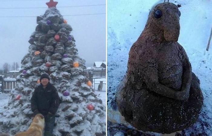 Скульптур из навоза: «Новогодняя елка» и «Ждун»./ Фото: sakhapress.ru
