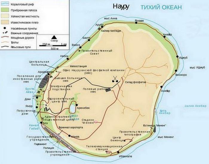 Карта Науру./ Фото: tourout.ru