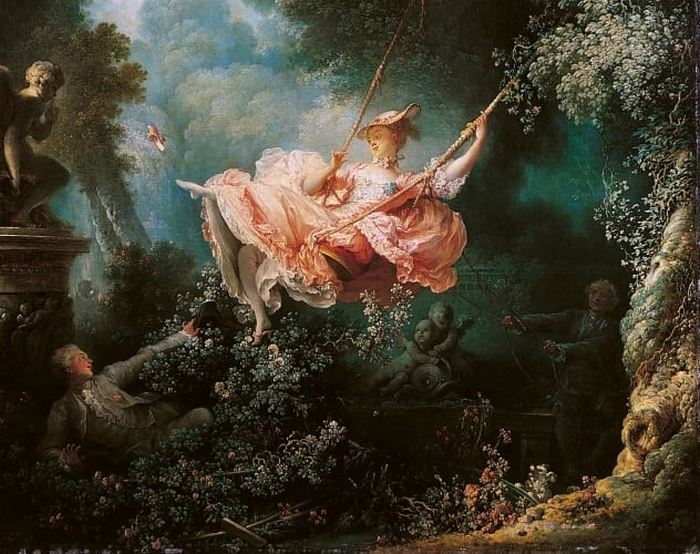 Картина «Счастливые возможности качелей», худ. Жан Оноре Фрагонар.