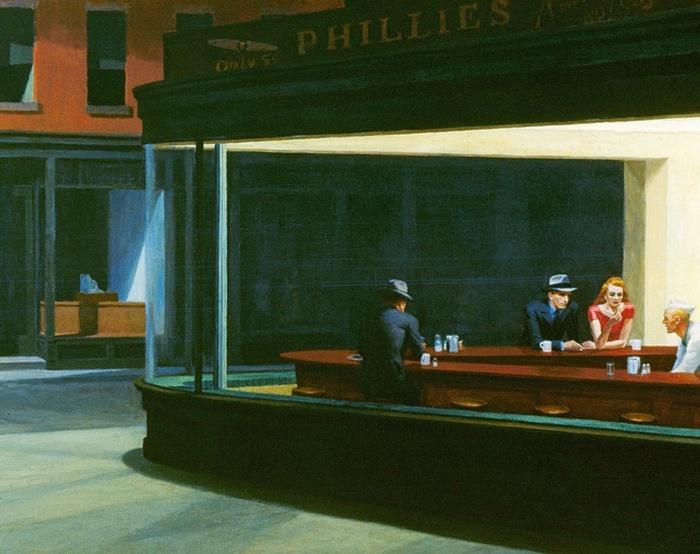 Картина «Полуночники», худ. Эдвард Хоппер.