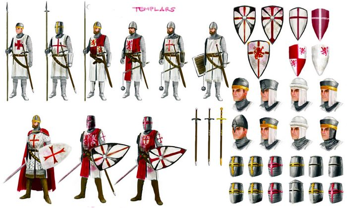Копья, булавы, мечи, шлемы тамплиеров.