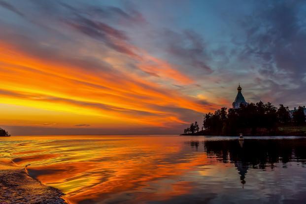 Закат на Валааме./ Фото: rrkt.ru