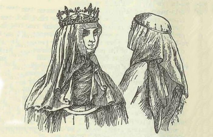 Изображение королевы Франции Изабеллы Баварской в вуали.