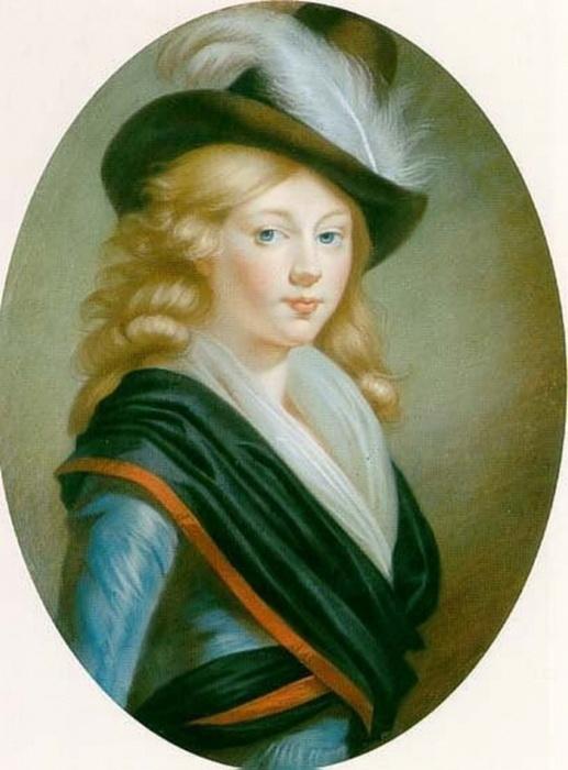 Портрет принцессы Луизы-Марии Августы Баденской в юности. Неизвестный художник