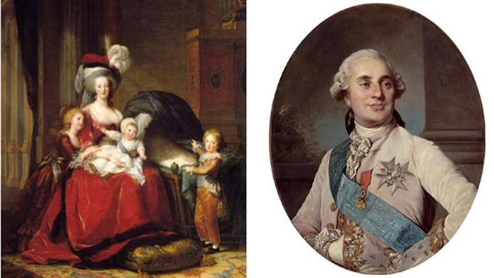 Мария Антуанетта с детьми (1871)  Портрет Луи XVI (1776)