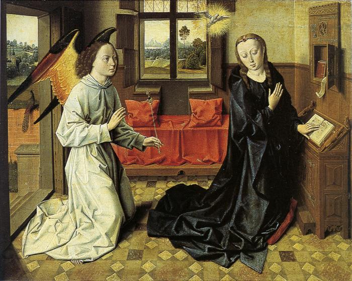 Дирк Боутс «Благовещение», около 1465-1470, теперь находится в  музее Галуста Гюльбенкяна, Лиссабон. / Фото: www.i.pinimg.com