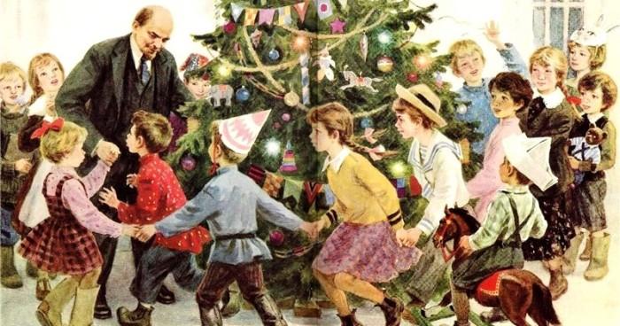 Неизвестный художник, «Ленин и дети. Новогодняя елка». / Фото: www.materinstvo.ru