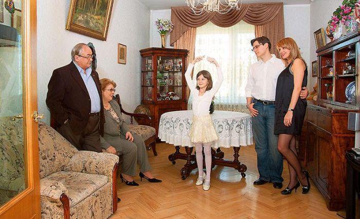 Всеволод Шиловский с женой, сыном Павлом, невесткой и внучкой. / Фото: www.7days.ru