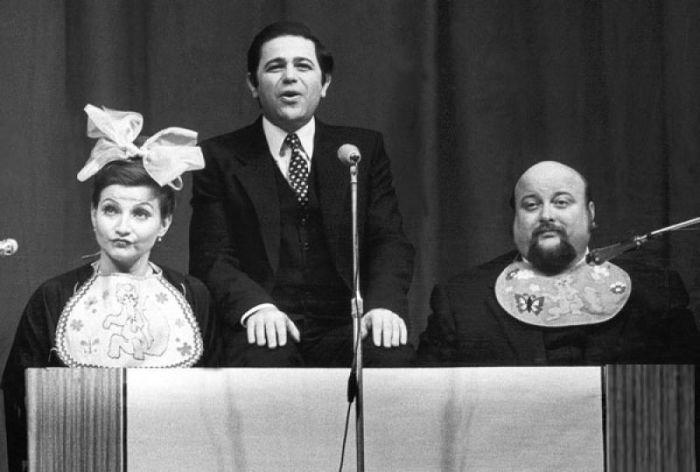 Евгений Петросян с Еленой Степаненко и Вячеславом Войнаровским, 1980. / Фото: www.tele.ru