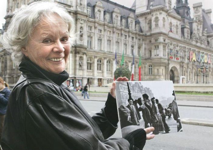 Франсуаза Дельбар на месте исторического поцелуя. / Фото: www.nargismagazine.az