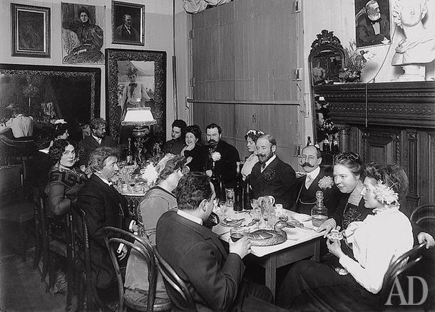 1909 год: гости Репина за вегетарианским ужином. / Фото: www.livejournal.com