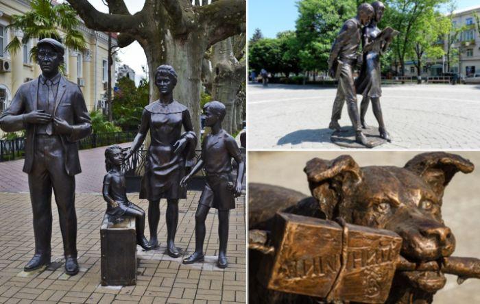 Памятники героям любимых фильмов расположились в разных городах.