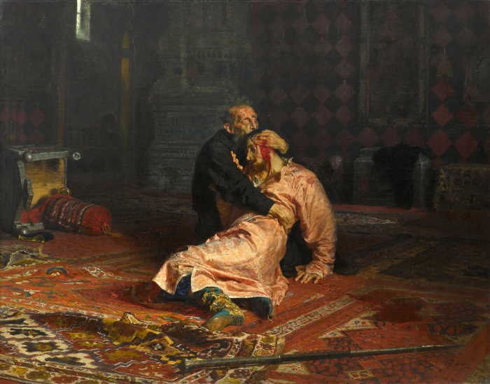 «Иван Грозный и сын его Иван 16 ноября 1581 года», Илья Репин, 1885. / Фото: www.pinimg.com