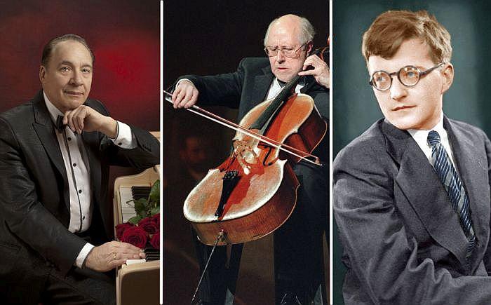 Максим Дунаевский, Мстислав Ростропович, Дмитрий Шостакович.