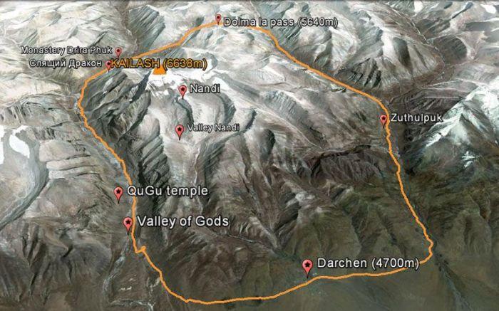 Карта трека вокруг Кайласа. / Фото: www.clubprigoda.com