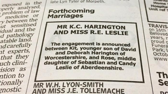 Объявление о помолвке в газете Times. / Фото: www.i.ytimg.com