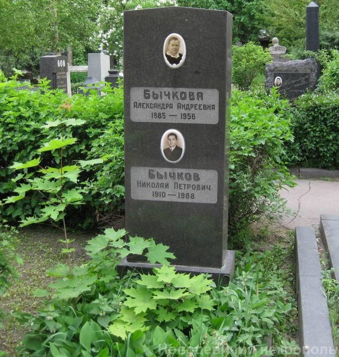 Памятник на могиле Александры Бычковой. / Фото: www.novodevichiynecropol.narod.ru