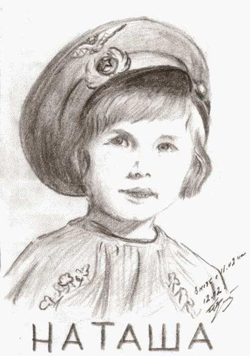 Портрет дочери Наташи, нарисованный Кожедубом в ночь с 11 на 12 февраля 1951 года. / Фото: www.loveread.me