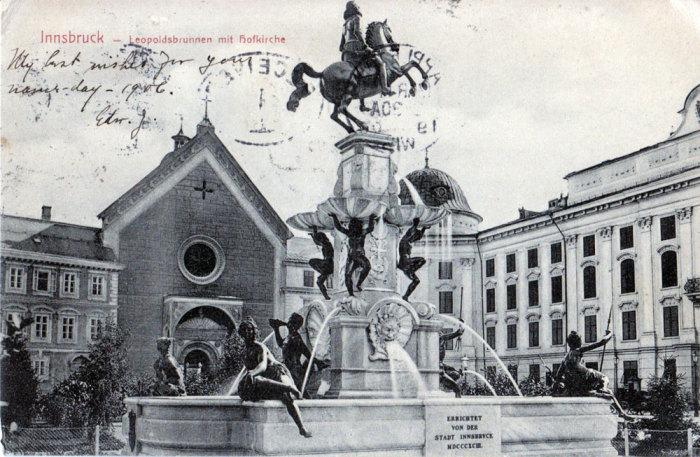 Фонтан Леопольда. Инсбрук, Австрия, 17 марта 1906 года. / Фото: www.carinemily.com