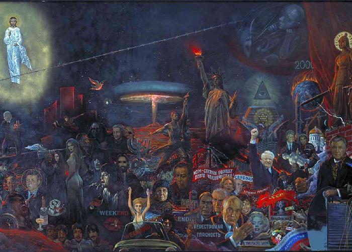 Фрагмент полотна «Мистерия XX века», Илья Глазунов. / Фото: www.glazunov-gallery.ru