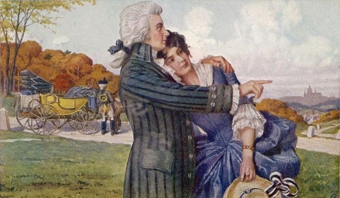 Моцарт и Констанция во время своего медового месяца. Открытка XIX века. / Фото: www.tunnel.ru