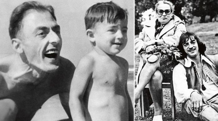 Михаил Боярский в детстве с отцом и во время съемок в кино с мамой.