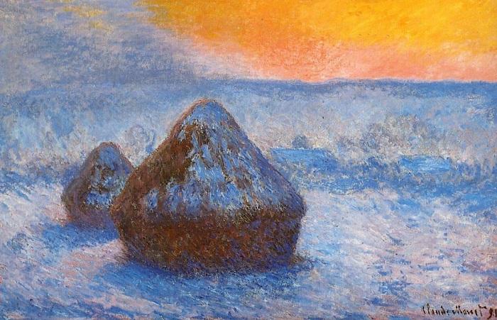 Стога сена на закате, эффект снега. (1891 год). Автор: К.Моне.