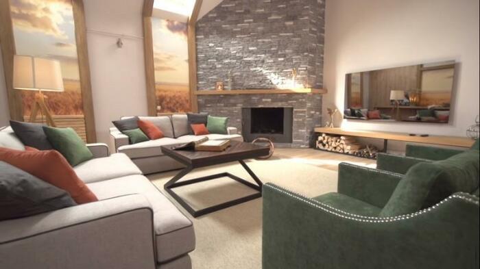 Вставки из фото-обоев с изображением пшеничных полей в гостиной после реконструкции.