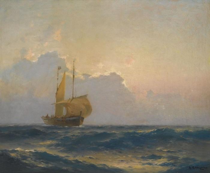 Корабль в сумерках. Автор: Алексей Ганзен.
