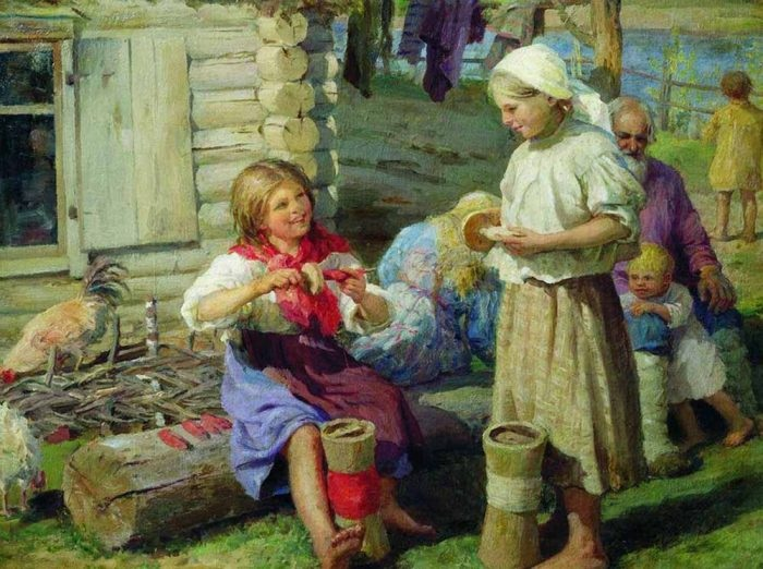 У хаты». Автор: Федот Сычков.