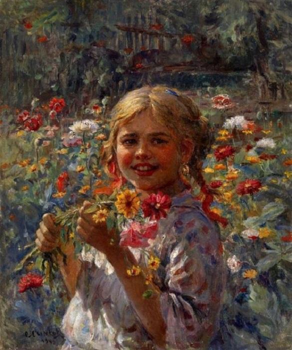 «Девочка в саду». Автор: Федот Сычков.
