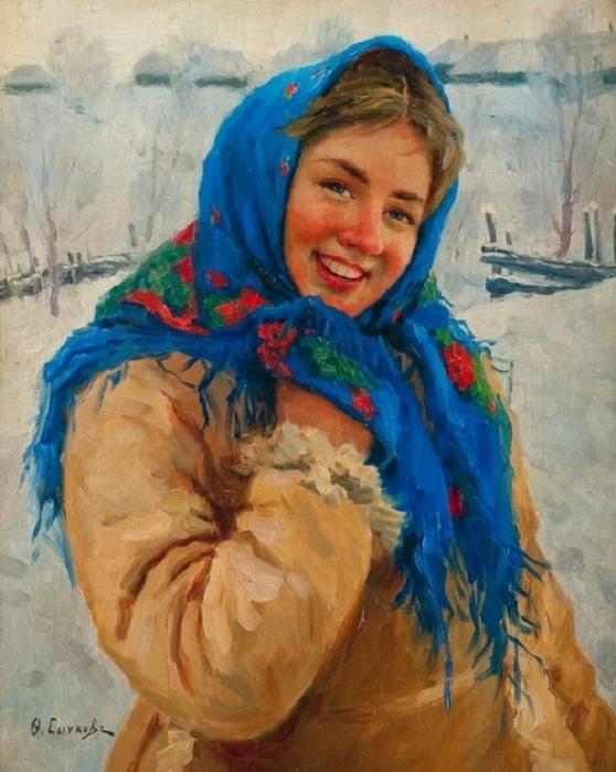 «Девушка в синем платке». Автор: Федот Сычков.