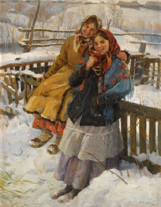 «Две девушки и два платка». Автор: Федот Сычков.