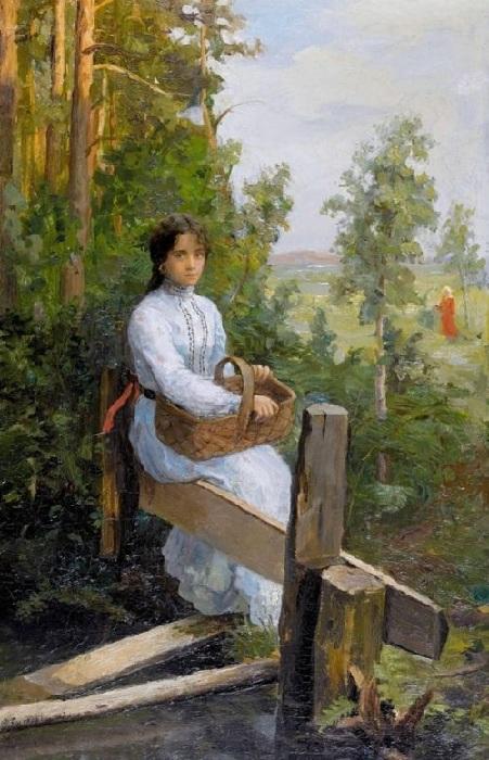 «Девушка в белом платье с корзиной». Автор: Федот Сычков.
