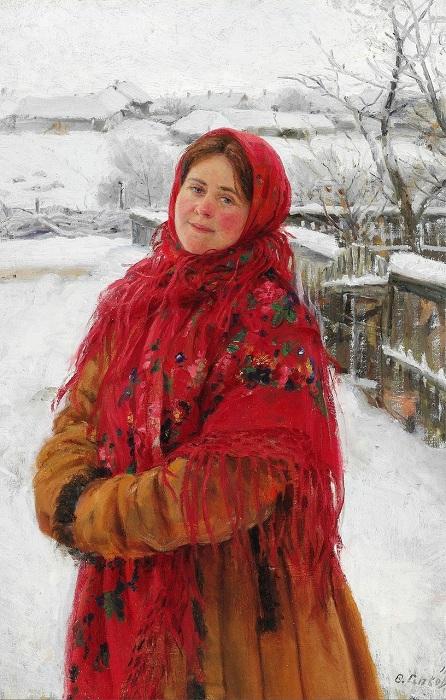 Русская женщина в красном платке на фоне пейзажа. (1923).