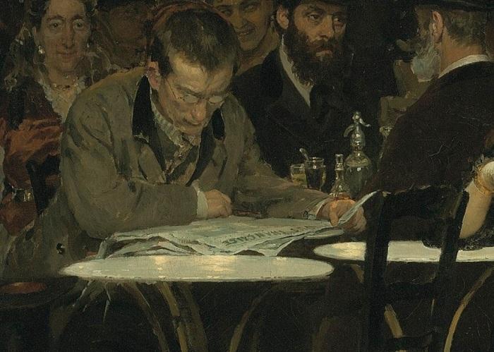 «Парижское кафе». Мужчина, читающий газету. Фрагмент полотна. «Парижское кафе».