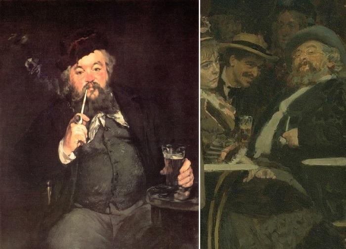 «Кружка хорошего пива». (1873). Эдуард Мане. / «Парижское кафе». Эмиль Бело. Фрагмент.
